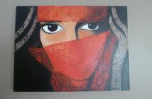 Gesluierde vrouw in rood……….   – VERKOCHT