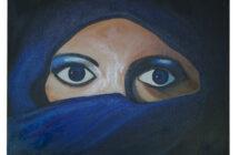 Gesluierde vrouw in blauw.    – VERKOCHT